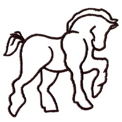 Draft Horse Outline embroidery design