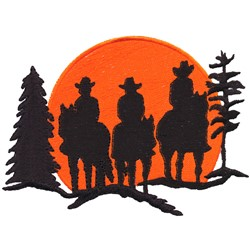 Riders Silhouette embroidery design