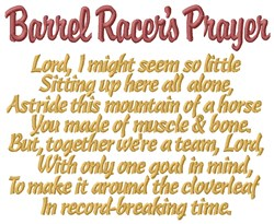 Barrel Race Prayer embroidery design