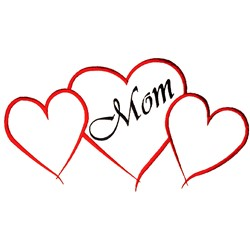 Mom Hearts Outline embroidery design