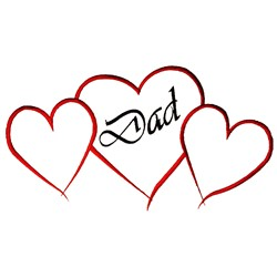 Dad Hearts Outline embroidery design