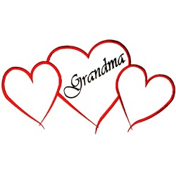 Grandma Hearts Outline embroidery design