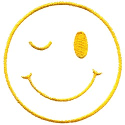 Winking Smiley Face embroidery design