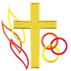 Cross, Flame & Rings embroidery design