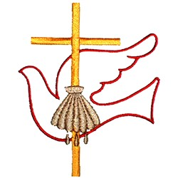 Baptism Cross & Dove embroidery design