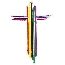 Rainbow Cross embroidery design