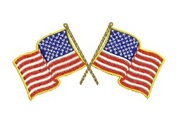 Crossed American Flags embroidery design