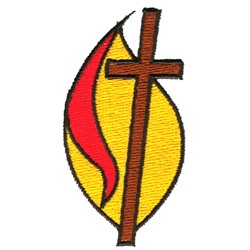 Cross and Flame embroidery design