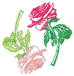 Light Fill Roses embroidery design