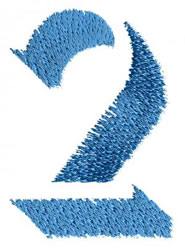 Number 2 embroidery design