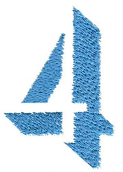 Number 4 embroidery design