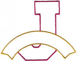 Athletic Banner J embroidery design
