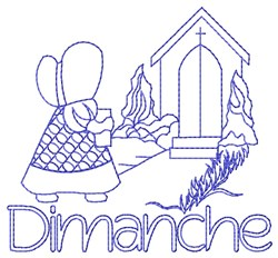French Sunday Church Lady embroidery design