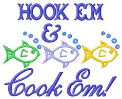 Hook Em embroidery design