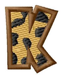 Leopard Letter K embroidery design
