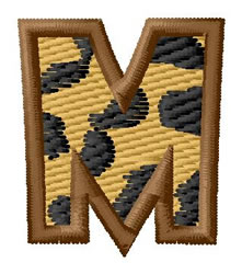 Leopard Letter M embroidery design