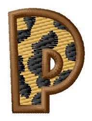 Leopard Letter P embroidery design