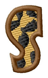 Leopard Letter S embroidery design