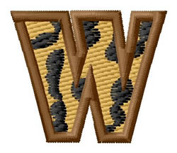 Leopard Letter W embroidery design