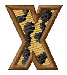 Leopard Letter X embroidery design