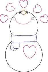 Valentines Day Snowman Outline embroidery design