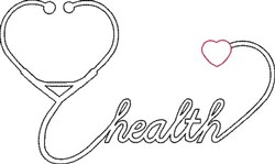 Stethoscope Heart Outline embroidery design