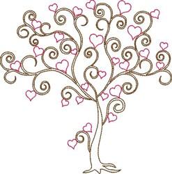 Swirly Valentines Day Tree embroidery design