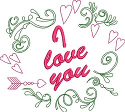 I Love You Wreath embroidery design