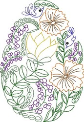 Floral Egg embroidery design