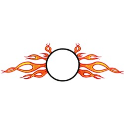 Circle with flames embroidery design
