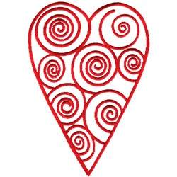 Swirly Heart Outline embroidery design