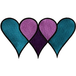 Triple hearts embroidery design