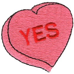 Yes Candy Heart embroidery design