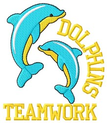 Dolphins Teamwork embroidery design
