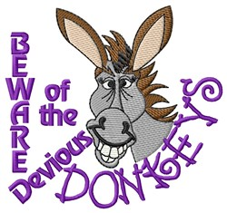 Devious Donkeys embroidery design