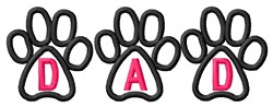 Pawprints Dad embroidery design
