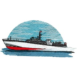 Transport Boat embroidery design
