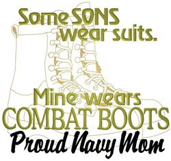 Combat Boots Navy Mom embroidery design