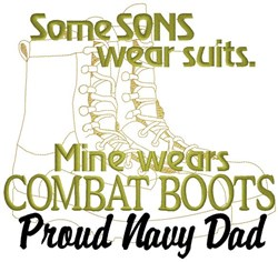 Combat Boots Navy Dad embroidery design