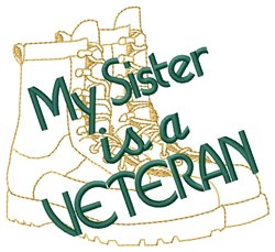 Sister Is A Veteran embroidery design