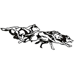 Wolfpack Outline embroidery design