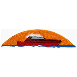 Boat in Sunset embroidery design
