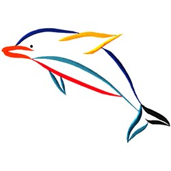 Multicolor Dolphin embroidery design