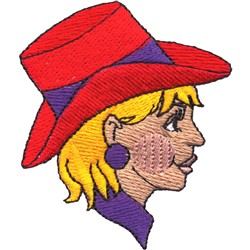 Gal with Hat embroidery design