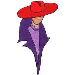 Gal in Red Hat embroidery design
