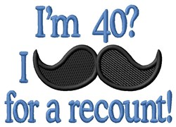 Moustache For 40 embroidery design