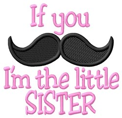 Moustache Little Sister embroidery design