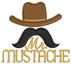 Mr. Mustache embroidery design