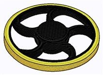 Black & Yellow Spinner embroidery design