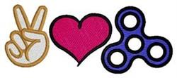 Peace Love Fidget embroidery design